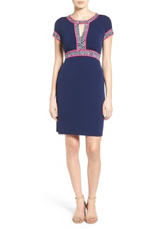 MICHAEL Michael Kors Border Print Keyhole Jersey Sheath Dress