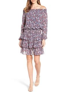 MICHAEL Michael Kors Brooks Print Off the Shoulder Dress