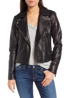 MICHAEL Michael Kors Buckle Detail Leather Moto Jacket