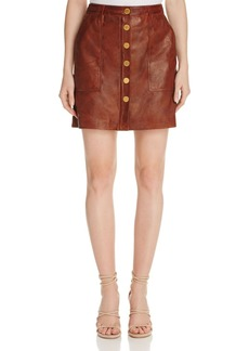 MICHAEL Michael Kors Button-Front Leather Skirt