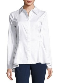 MICHAEL Michael Kors Button-Front Peplum Poplin Top