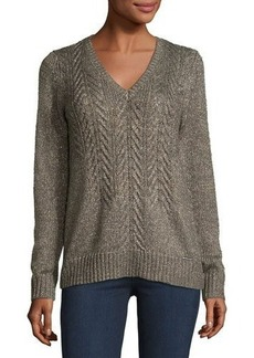 MICHAEL Michael Kors Cable-Front V-Neck Sweater