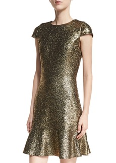 MICHAEL Michael Kors Cap-Sleeve Foil Knit Flounce Dress