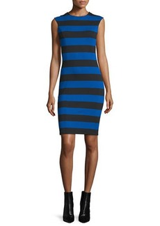 MICHAEL Michael Kors Cap-Sleeve Striped Sheath Dress
