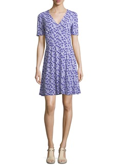 MICHAEL Michael Kors Carnations Floral-Print V-Neck Dress