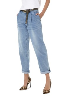 MICHAEL Michael Kors Carrot High-Rise Cropped Straight-Leg Jeans in Angel Blue Wash
