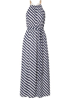 MICHAEL Michael Kors Chain-embellished striped chiffon maxi dress