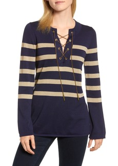 MICHAEL Michael Kors Chain Lace-Up Stripe Sweater