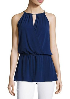 MICHAEL Michael Kors Chain-Neck Halter Peplum Top