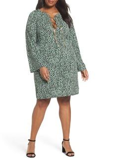 MICHAEL Michael Kors Chain Neck Print Shift Dress (Plus Size)