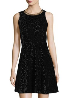 MICHAEL Michael Kors Chain-Neck Velvet Burnout Dress