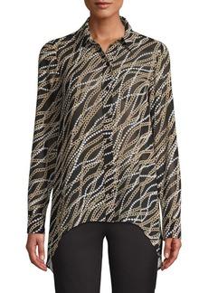 MICHAEL Michael Kors Chain-Print Handkerchief Hem Blouse