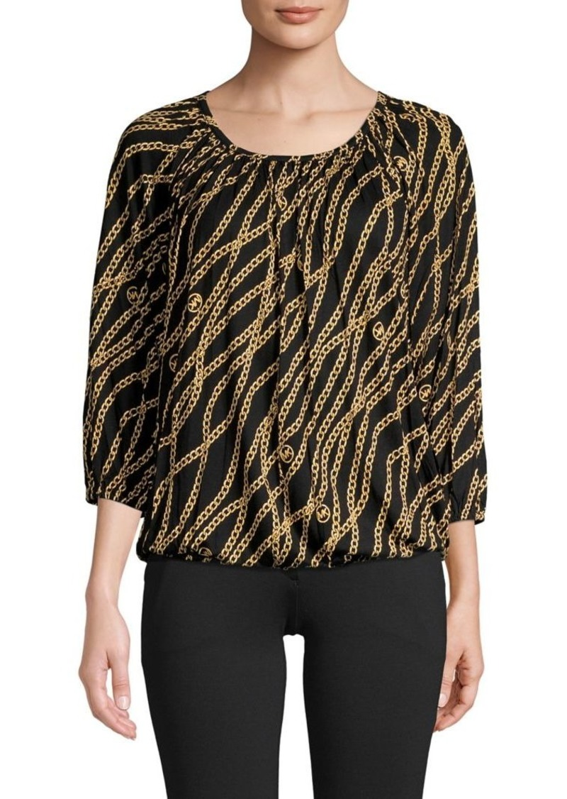 MICHAEL Michael Kors Chain-Print Roundneck Top