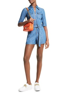 MICHAEL Michael Kors Chambray Belted Romper