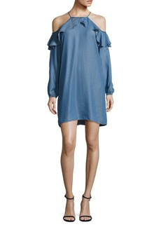 MICHAEL MICHAEL KORS Chambray Cold-Shoulder Dress