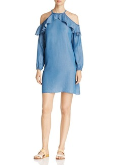 MICHAEL Michael Kors Chambray Cold Shoulder Ruffle Dress