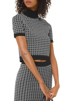 MICHAEL Michael Kors Check-Print Mock-Neck Top