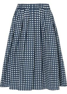 Checked cotton-blend poplin skirt