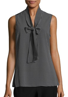 MICHAEL MICHAEL KORS Checked Tie-Accented Top
