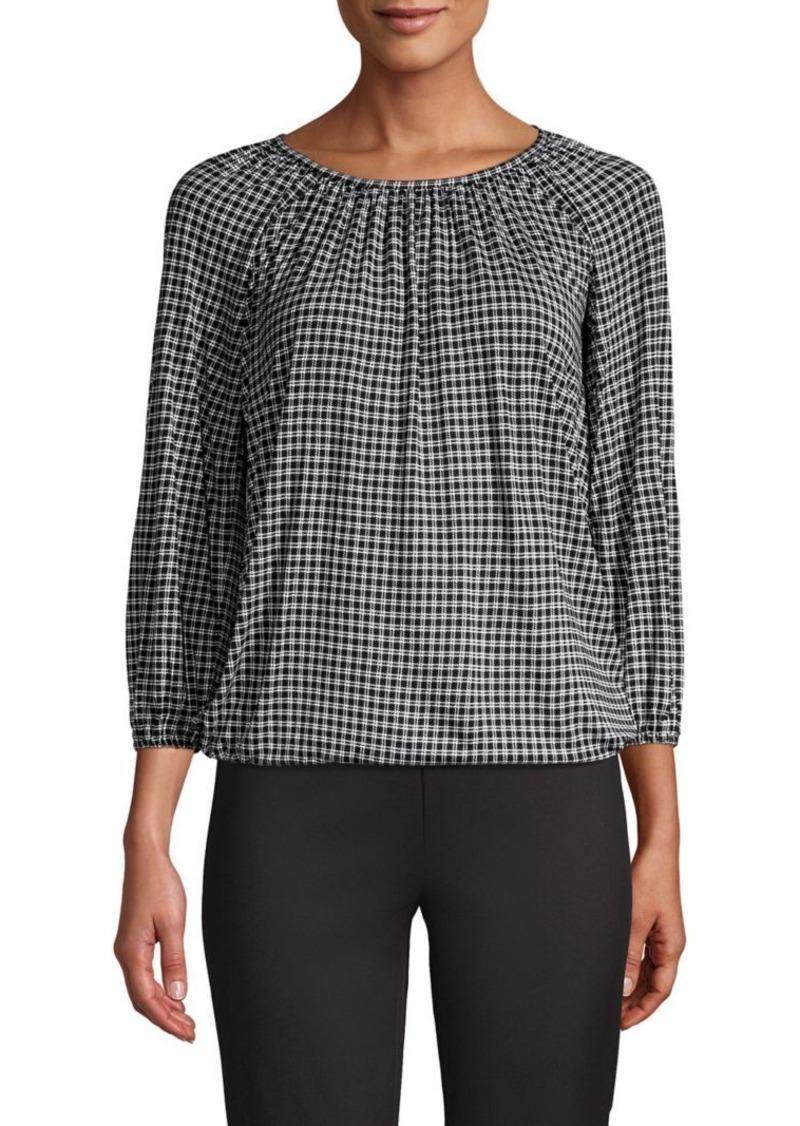 MICHAEL Michael Kors Checkered Long Raglan-Sleeve Top