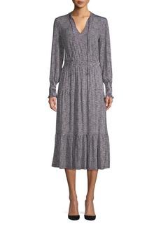 MICHAEL Michael Kors Checkered Long Sleeve Midi Dress