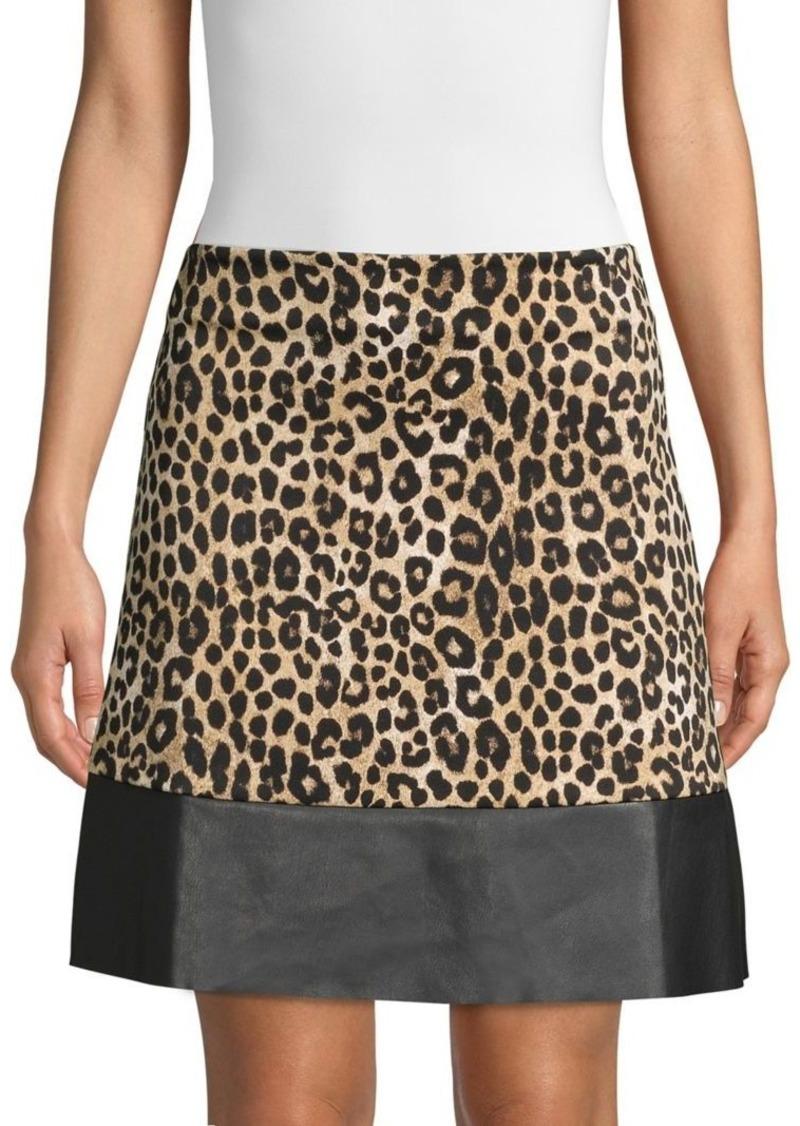 MICHAEL Michael Kors Cheetah Print & Faux Leather A-line Skirt