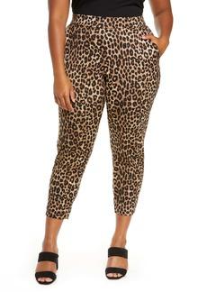 MICHAEL Michael Kors Cheetah Print Slim Pants (Plus Size)