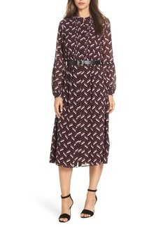 MICHAEL Michael Kors Chevron Belted Midi Dress