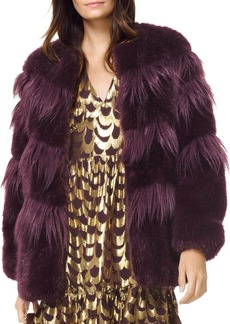 MICHAEL Michael Kors Chevron Faux-Fur Coat