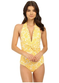 MICHAEL Michael Kors Chilitington Deep-V Twist Halter Maillot One-Piece