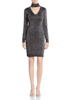 MICHAEL Michael Kors Choker Neck Metallic Sweater Dress