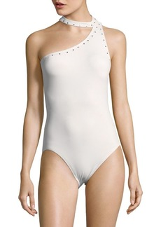 MICHAEL MICHAEL KORS Choker One-Shoulder One-Piece Swimsuit