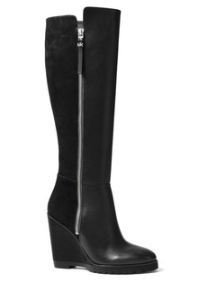 MICHAEL MICHAEL KORS Clara Vachetta and Kid Suede Wedge Boots