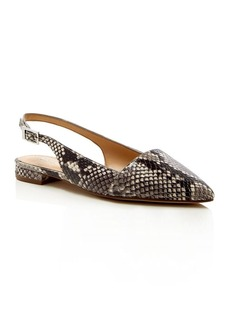 MICHAEL Michael Kors Claudia Snake Embossed Slingback Pointed Toe Flats