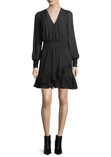 MICHAEL Michael Kors Clipped Dotted Jacquard Smocked Dress