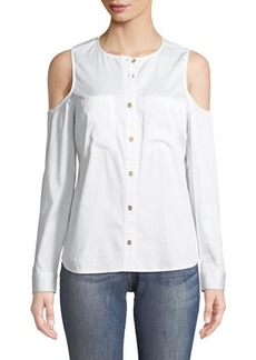 MICHAEL Michael Kors Cold-Shoulder Button-Down Blouse