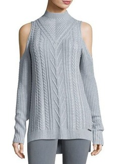 MICHAEL Michael Kors Cold-Shoulder Cable-Knit Sweater