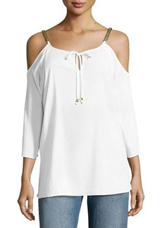 MICHAEL Michael Kors Cold-Shoulder Chain Tie Top