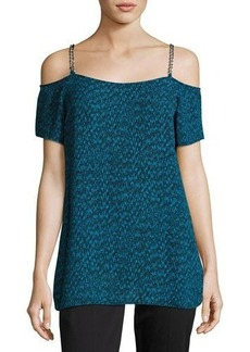 MICHAEL Michael Kors Cold-Shoulder Chain-Trim Top