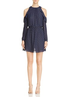 MICHAEL Michael Kors Cold-Shoulder Circle-Print Dress