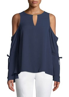 MICHAEL Michael Kors Cold-Shoulder Long-Sleeve Blouse