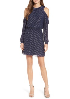 MICHAEL Michael Kors Cold Shoulder Metallic Dot Dress