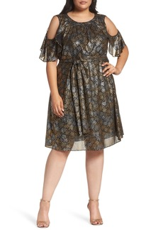 MICHAEL Michael Kors Cold Shoulder Metallic Star A-Line Dress (Plus Size)