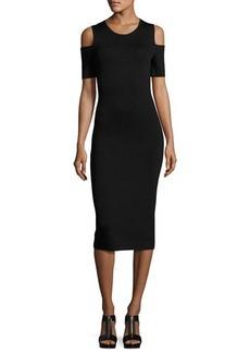 MICHAEL Michael Kors Cold-Shoulder Midi Sheath Dress