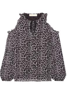 MICHAEL Michael Kors Cold-shoulder printed chiffon blouse