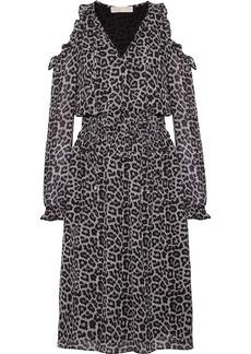 MICHAEL Michael Kors Cold-shoulder printed chiffon midi dress