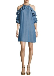 MICHAEL Michael Kors Cold-Shoulder Ruffled Chambray Dress