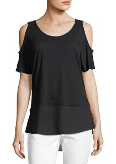 MICHAEL Michael Kors Cold-Shoulder Short-Sleeve Jersey Top