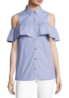 MICHAEL Michael Kors Cold-Shoulder Striped Flounce Button-Front Top