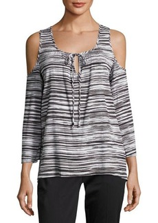 MICHAEL Michael Kors Cold-Shoulder Tie-Front Blouse